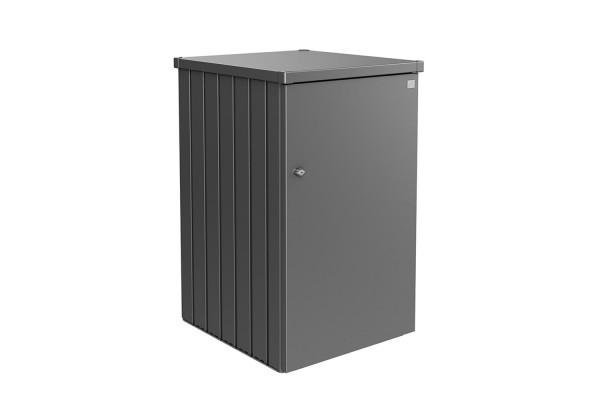 Mülltonnenbox Alex Variante 2 Seitenwände quarzgrau-metallic, Tür und Dach in quarzgrau-metallic