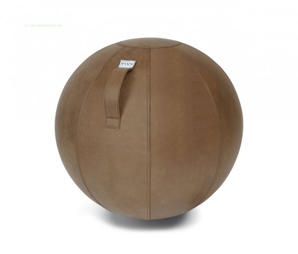 VLUV VEEL Kunstleder-Sitzball, Cognac, Größe Ø 70-75 cm, ergonomisches Sitzen und Rückentraining in