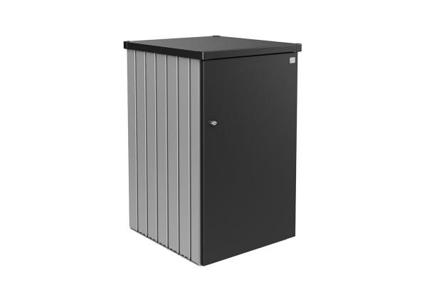 Mülltonnenbox Alex Variante 1.3 Seitenwände silber-metallic, Tür und Dach in dunkelgrau-metallic
