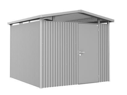 Biohort Gerätehaus Panorama Gr. P4 silber-metallic mit Doppeltür