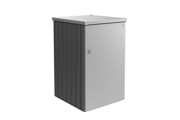 Mülltonnenbox Alex Variante 2.1 Seitenwände quarzgrau-metallic, Tür und Dach in silber-metallic