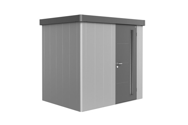 Gerätehaus Neo 1B Variante 1.2 Standardtür, Wandfarbe silber-metallic, Dach- und Türfarbe quarzgrau-