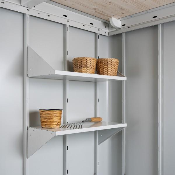 Regalboden Gerätehaus Neo grauweiß, 2 Böden