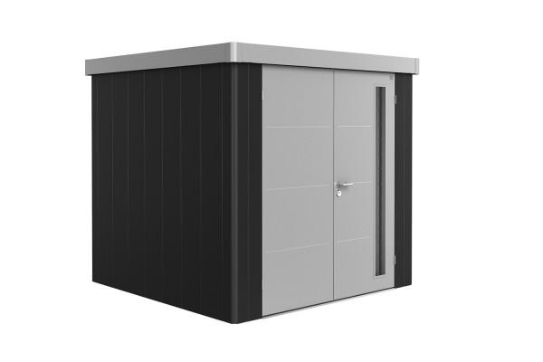 Gerätehaus Neo 2B Variante 3.1 Doppeltür, Wandfarbe dunkelgrau-metallic, Dach- und Türfarbe silber-m