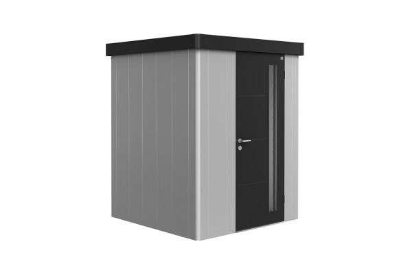 Gerätehaus Neo 1A Variante 1.3 Standardtür, Wandfarbe silber-metallic, Dach- und Türfarbe dunkelgrau