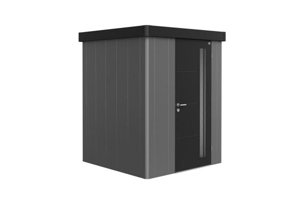 Gerätehaus Neo 1A Variante 2.3 Standardtür, Wandfarbe quarzgrau-metallic, Dach- und Türfarbe dunkelg