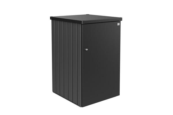 Mülltonnenbox Alex Variante 2.3 Seitenwände quarzgrau-metallic, Tür und Dach in dunkelgrau-metallic