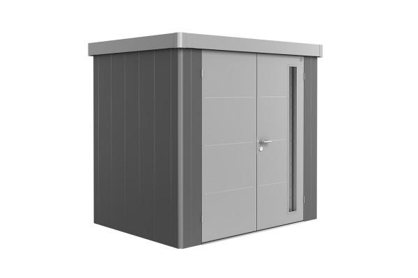 Gerätehaus Neo 1B Variante 2.1 Doppeltür, Wandfarbe quarzgrau-metallic, Dach- und Türfarbe silber-me