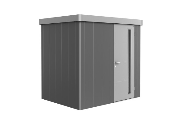 Gerätehaus Neo 1B Variante 2.1 Standardtür, Wandfarbe quarzgrau-metallic, Dach- und Türfarbe silber-