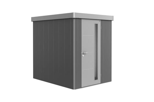Gerätehaus Neo 2A Variante 1.2 Standardtür, Wandfarbe silber-metallic, Dach- und Türfarbe quarzgrau-