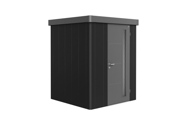 Gerätehaus Neo 1A Variante 3.2 Standardtür, Wandfarbe dunkelgrau-metallic, Dach- und Türfarbe quarzg