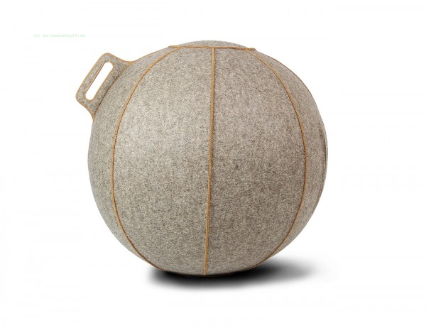 VLUV VELT Filz-Sitzball, Greige-Meliert/Braun, Größe Ø 60-65 cm, ergonomisches Sitzen und Rückentrai
