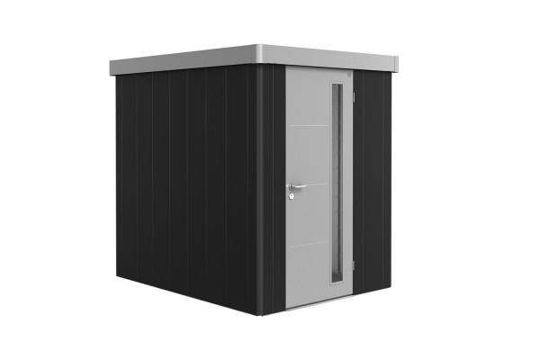 Gerätehaus Neo 2A Variante 1.3 Standardtür, Wandfarbe silber-metallic, Dach- und Türfarbe dunkelgrau