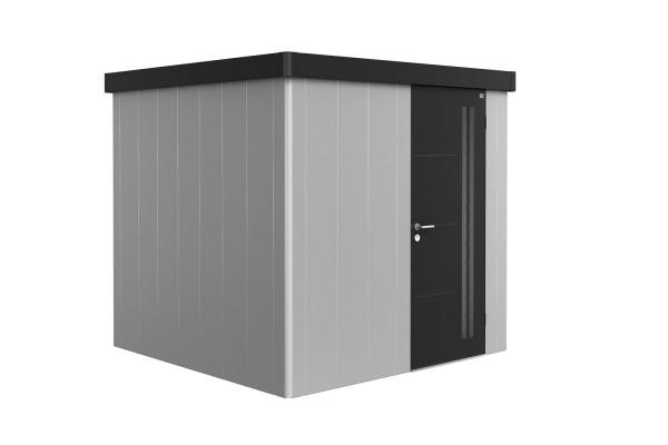 Gerätehaus Neo 2B Variante 1.3 Standardtür, Wandfarbe silber-metallic, Dach- und Türfarbe dunkelgrau