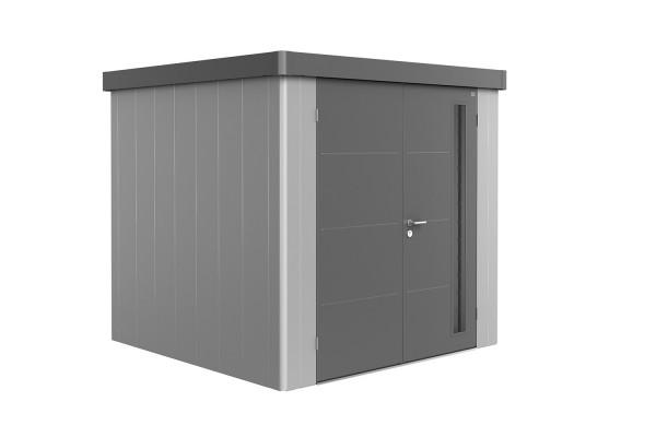 Gerätehaus Neo 2B Variante 1.2 Doppeltür, Wandfarbe silber-metallic, Dach- und Türfarbe quarzgrau-me