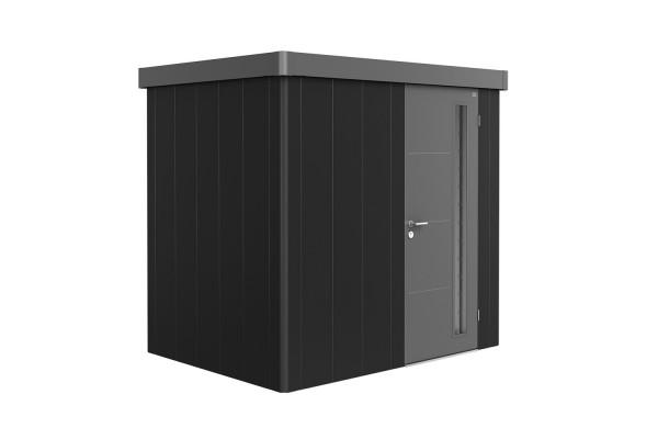 Gerätehaus Neo 1B Variante 3.2 Standardtür, Wandfarbe dunkelgrau-metallic, Dach- und Türfarbe quarzg