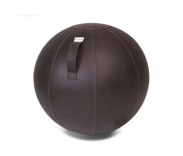 VLUV VEEL Kunstleder-Sitzball, Mokka, Größe Ø 60-65 cm, ergonomisches Sitzen und Rückentraining in e