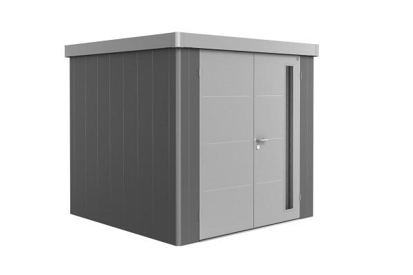 Gerätehaus Neo 2B Variante 2.1 Doppeltür, Wandfarbe quarzgrau-metallic, Dach- und Türfarbe silber-me