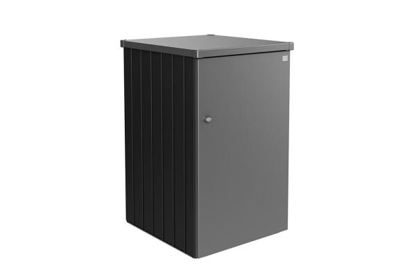 Mülltonnenbox Alex Variante 3.2 Seitenwände dunkelgrau-metallic, Tür und Dach in quarzgrau-metallic
