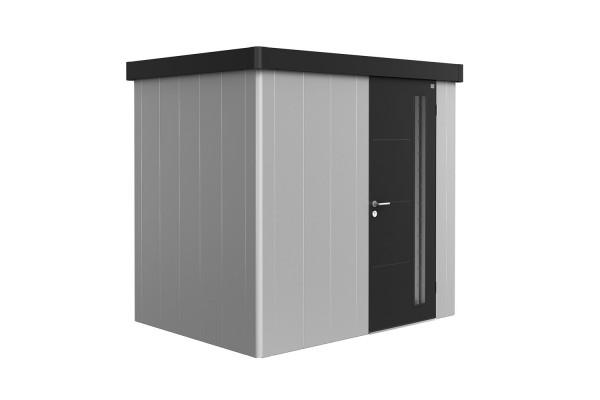 Gerätehaus Neo 1B Variante 1.3 Standardtür, Wandfarbe silber-metallic, Dach- und Türfarbe dunkelgrau
