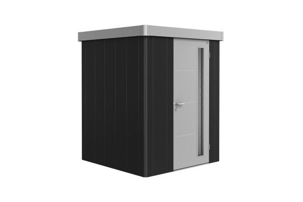 Gerätehaus Neo 1A Variante 3.1 Standardtür, Wandfarbe dunkelgrau-metallic, Dach- und Türfarbe silber