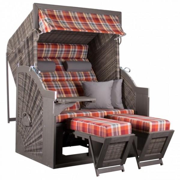 Strandkorb Pure Comfort XL, Pine grau gebürstet, 2Sit., Des.429 rot kariert