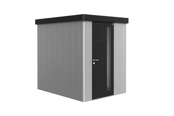 Gerätehaus Neo 2A Variante 3.1 Standardtür, Wandfarbe dunkelgrau-metallic, Dach- und Türfarbe silber
