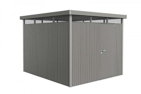 Gerätehaus HighLine Gr. HS quarzgrau-metallic mit Standardtür für Einbau in kurzer Seitenwand