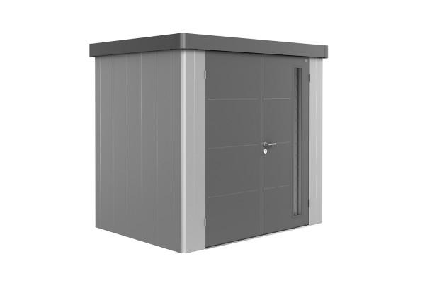 Gerätehaus Neo 1B Variante 1.2 Doppeltür, Wandfarbe silber-metallic, Dach- und Türfarbe quarzgrau-me