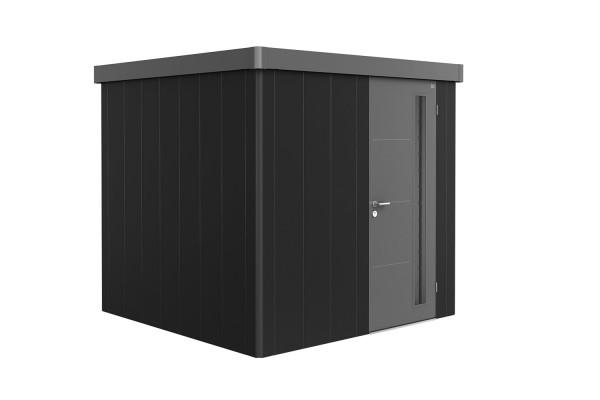 Gerätehaus Neo 2B Variante 3.2 Standardtür, Wandfarbe dunkelgrau-metallic, Dach- und Türfarbe quarzg