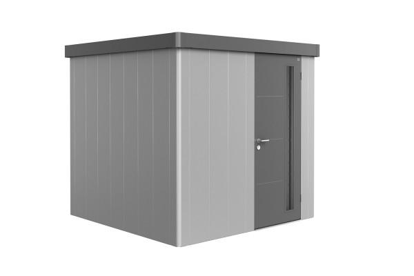 Gerätehaus Neo 2B Variante 1.2 Standardtür, Wandfarbe silber-metallic, Dach- und Türfarbe quarzgrau-