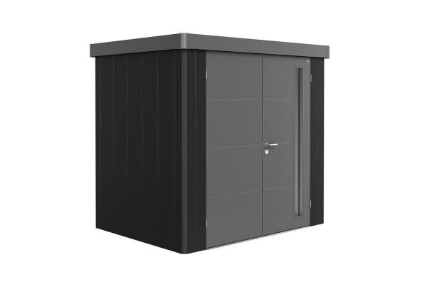 Gerätehaus Neo 1B Variante 3.2 Doppeltür, Wandfarbe dunkelgrau-metallic, Dach- und Türfarbe quarzgra