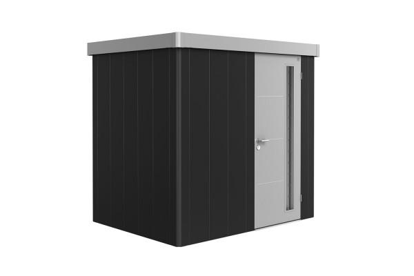 Gerätehaus Neo 1B Variante 3.1 Standardtür, Wandfarbe dunkelgrau-metallic, Dach- und Türfarbe silber