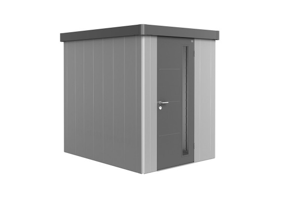 Gerätehaus Neo 2A Variante 2.1 Standardtür, Wandfarbe quarzgrau-metallic, Dach- und Türfarbe silber-