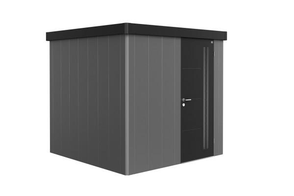 Gerätehaus Neo 2B Variante 2.3 Standardtür, Wandfarbe quarzgrau-metallic, Dach- und Türfarbe dunkelg