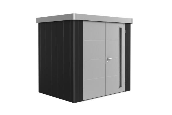 Gerätehaus Neo 1B Variante 3.1 Doppeltür, Wandfarbe dunkelgrau-metallic, Dach- und Türfarbe silber-m