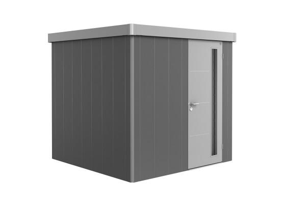 Gerätehaus Neo 2B Variante 2.1 Standardtür, Wandfarbe quarzgrau-metallic, Dach- und Türfarbe silber-