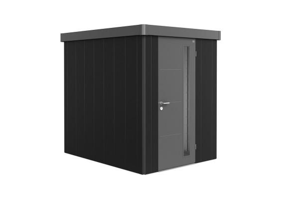 Gerätehaus Neo 2A Variante 2.3 Standardtür, Wandfarbe quarzgrau-metallic, Dach- und Türfarbe dunkelg