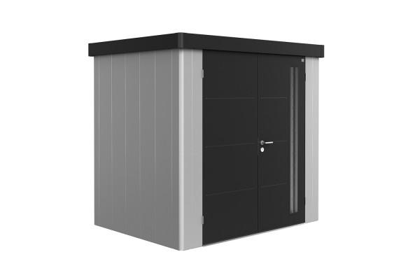 Gerätehaus Neo 1B Variante 1.3 Doppeltür, Wandfarbe silber-metallic, Dach- und Türfarbe dunkelgrau-m
