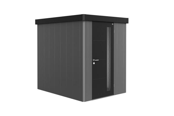 Gerätehaus Neo 2A Variante 3.2 Standardtür, Wandfarbe dunkelgrau-metallic, Dach- und Türfarbe quarzg