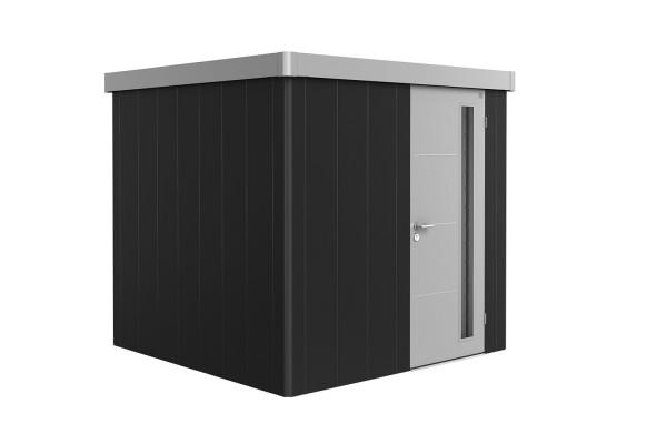 Gerätehaus Neo 2B Variante 3.1 Standardtür, Wandfarbe dunkelgrau-metallic, Dach- und Türfarbe silber
