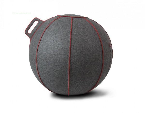VLUV VELT Filz-Sitzball, Grau Meliert/Rot, Größe Ø 60-65 cm, ergonomisches Sitzen und Rückentraining