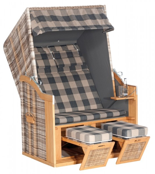 Strandkorb Rustikal 34Z 2-Sitzer XL, antik weiß, Des 1209