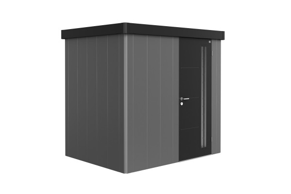 Gerätehaus Neo 1B Variante2.3 Standardtür, Wandfarbe quarzgrau-metallic, Dach- und Türfarbe dunkelgr