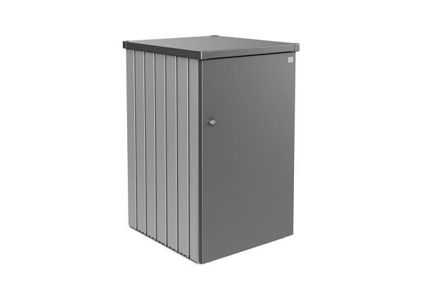 Mülltonnenbox Alex Variante 1.2 Seitenwände silber-metallic, Tür und Dach in quarzgrau-metallic
